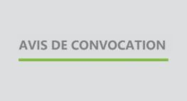 Avis de convocation – Assemblée générale annuelle 2021