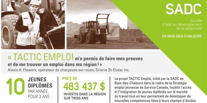 TAC-TIC emploi : favoriser l'embauche de jeunes diplômés dans la Baie-des-Chaleurs